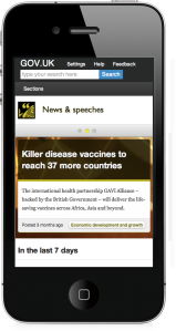 GOV.UK design on mobile device