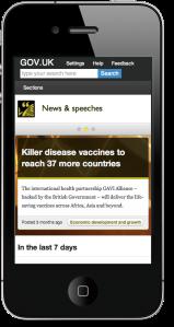 GOV.UK design on mobile device