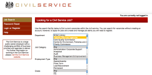 Screenshot of the Civil Service jobs page- searching for Cabinet Office jobs