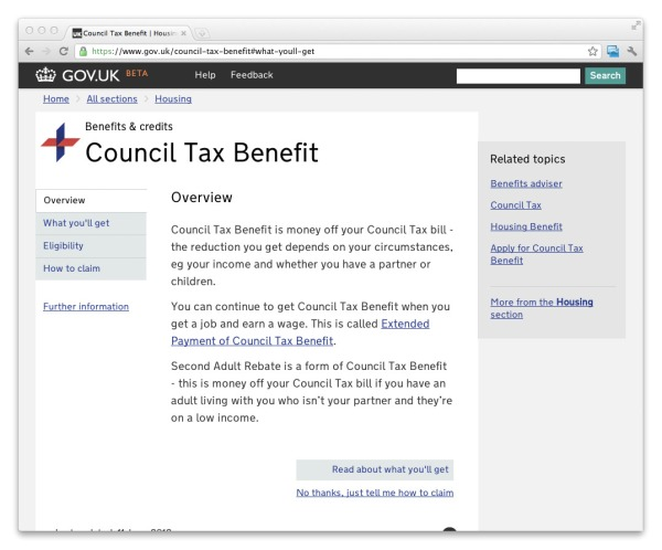 Screenshot of how navigation looks in Council Tax Benefit after the change (navigation tabs removed from the top of the content and placed to the left)