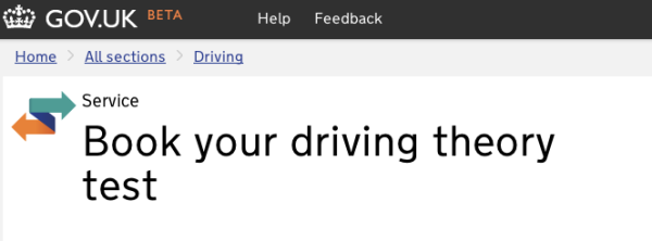 Screenshot of the driving test page showing the new Home link beneath the GOV.UK masthead with link incorporated