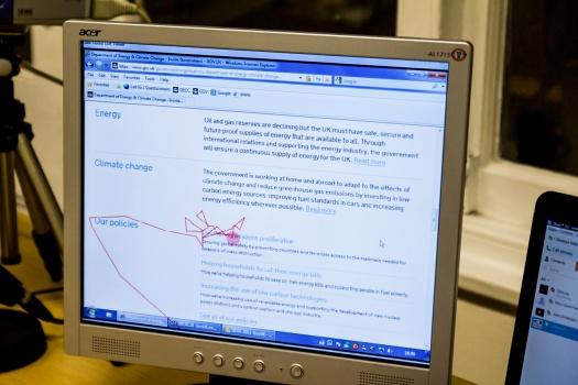 User testing screen detail