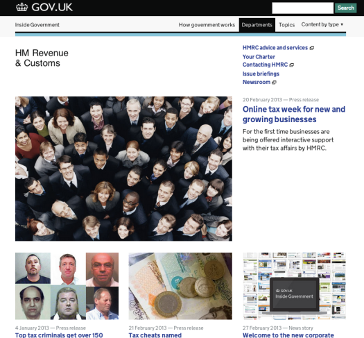 Screen Shot of HMRC's home page