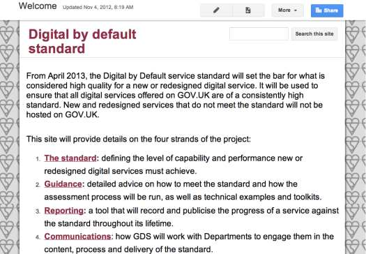 Screen shot of the digital by default service standard alpha