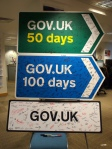 The whole team signed these roadsigns en route to the 17 Oct 2012 launch of GOV.UK. There was also cake.