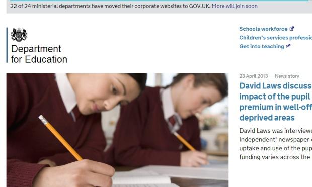 Screenshot of DfE content on GOV.UK