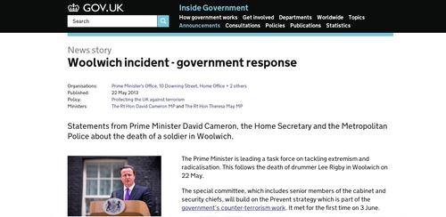 Woolwich incident GOVUK screenshot