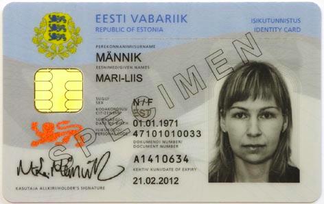 Estonian ID card specimen